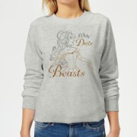 Disney Beauty And The Beast Princess Belle I Only Date Beasts Women's Sweatshirt - Grey - 3XL - Grey