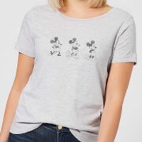 Disney Mickey Mouse Evolution Three Poses Women's T-Shirt - Grey - 3XL - Grey