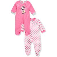 Disney Minnie Mouse Baby Girls' 2-Pack Footed Coveralls - pink/white, 3 - 6 months
